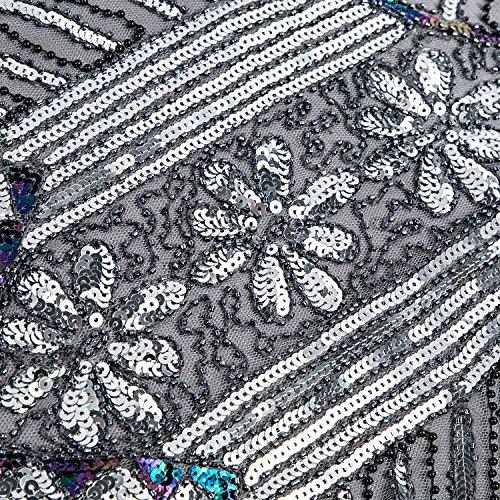 Metme Damen der 1920er Jahre V Ausschnitt Perlen Fransen Gatsby Thema Flapper Kleid für Abschlussball Grau