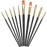 Vicloon Pennelli da Pittura, 10 Pezzi Pennelli per Dipingere di Nylon, Artista Pennello Set di Acrilico Acquerello e Pittura