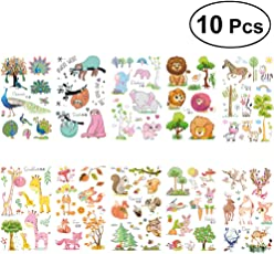 TOYMYTOY 10 Sheets Cartoon Animal Temporary Tattoos Waterproof Stickers Party Favors for Boys Girls