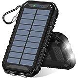 ADDTOP Chargeur Solaire 15000mAh Batterie Externe Portable avec 2 Ports USB 4.8A Power Bank pour iPhone, Samsung Galaxy et Plus