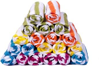 S Kumars Cotton Love Touch Knitted Multi Stripe 300 GSM Face Towel(Multicolour) - Pack of 20