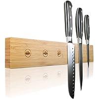Amazy Porte-couteaux magnétique avec marquage pour chaque couteau – Rail à couteaux aimanté en bambou massif pour…