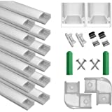 LED aluminium profiel 1m, set van 12 in U-vorm voor LED stripverlichting en LED flexbands incl. Met eindkap en bevestigingscl