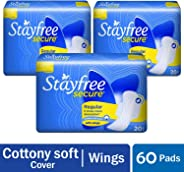 Stayfree Sanitary Napkins with Wings (20 Count) Pack of 3