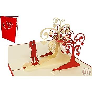 LIN Biglietto Pop Up 3D per matrimonio, invito di nozze, San Valentino, biglietti di auguri, motivo: coppia che si bacia/alberi di cuori