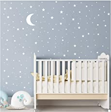 JOYRESIDE Moon and Stars Wall Decal Vinyl Sticker for Kids Boy Girls Baby Room Decoration Good Night Nursery Wall Decor Home House Bedroom Design YMX16 (White)