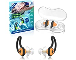Hearprotek 2 Pairs Swimmer Ear Plugs, Upgraded Silicone Custom-fit Water Protection Swimming earplugs for Swimmers Water Pool
