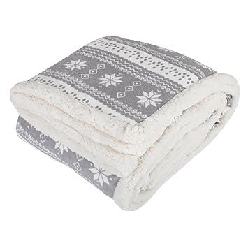 Grey Snowflake Design Luxury Fleece Blanket Soft Sherpa Sofa Bed ...