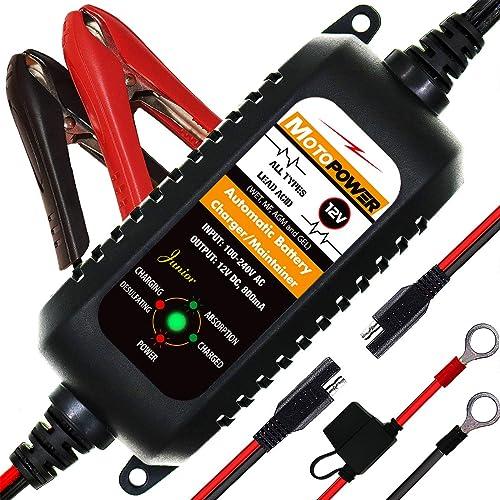 MOTOPOWER MP00205A 12V 800mA Completamente Automatico Caricabatterie/manutentore per Auto, Moto, ATV, Camper, Powersports, Barca e Altro Ancora. Intelligente, Compatto ed Ecologico