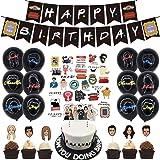Kit de décorations d'anniversaire sur le thème des amis, bannières de joyeux anniversaire Ballons de confettis Gâteau Cupcake
