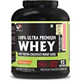 Advance MuscleMass Whey Protein Concentrate With Enzyme Blend| 24.7 g protein | Lab tested | Raw Whey from USA | Strawberry F