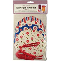 Kitchen Craft KCHMFC8PCH Jam Jar Covers with Fastening Bands and Ribbon, Paper, Assorted Colours, 24 Pieces