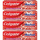 Colgate MaxFresh Toothpaste, Red Gel Paste with Menthol for Super Fresh Breath, 600g, 150g X 4 Spicy Fresh)