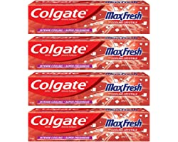 Colgate MaxFresh Breath Freshner Toothpaste, 600g (150g x 4), Spicy Fresh, Red Gel Paste with Menthol, Cooling crystals for f