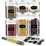 SAWAKE Lufttäta matförvaringsbehållare med lock (set med 6), kök och skafferi spannmålsförvaringsbehållare, plast BPA-fri ide