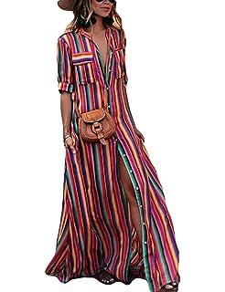 Robe Chemise Tunique Longue pour Femme à Manches Courte Modèle Ample Loose  Imprimé Rayure Arc- 60cf4c90a7e