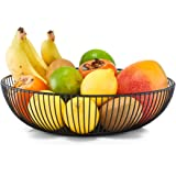 Zeller 27382 Fruitmand, metaal, zwart, Ø 28 x 8 cm