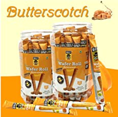 Pack of 2 Bily Wafer Roll Butterscotch (33 Units Each) (PlasticJarPack-429gm Each)
