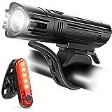 Ascher USB Rechargeable LED Bike Lights Set - Front Light Taillight Combinations LED Bicycle Light Set (2000mAh Lithium Batte