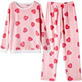 GOSO Pijama para niñas 8 9 10 11 12 13 14 años de Invierno cálido Pijama para niñas Adolescentes Tops y Pantalones Largos Big