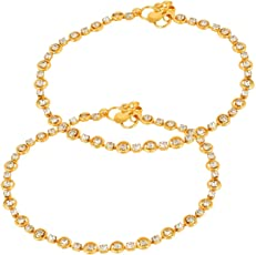 Cardinal Traditional Party Wear Stylish Latest Design Gold Colour Anklet/payal/pajeb for Women/Girls(Set of 2)