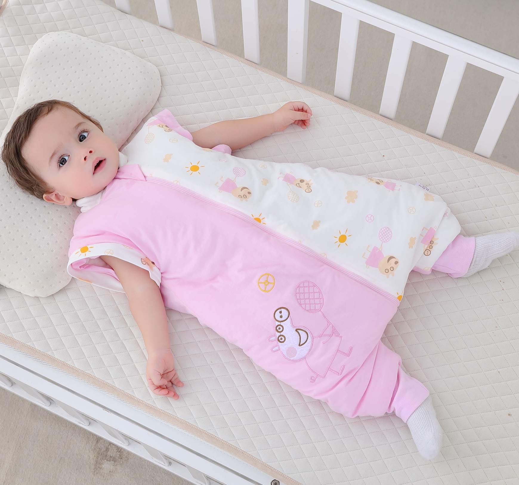 Saco de dormir para bebé con pies y pijama de manga larga de algodón, traje de dormir para bebé de 1 a 3 años.