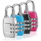 Kombination Vorhängeschloss, (4 Pack 4 Farbe) 3-stellige Gepäck Lock Travel Locks mit Alloy Body für Reisetasche, Koffer, Schließfächer, Gym, Rucksack - Schwarz, Blau, Pink und Silber