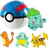 Pokemon Ball, Pokemon Throw N Pop Ball avec 4 Figurines d'action Pikachu - Lancer et Pop Balles Pokemon pour garçons Filles o