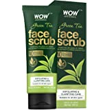 WOW Skin Science Green Tea Face Scrub - with Green Tea Extract & Green Kaolin Clay - for Exfoliating & Clarifying Skin - No S