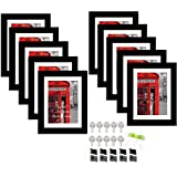 Art Street Set of 10 Individual Wall Photo Frames Black 8x10 Inches of Photo Size Mounted to 6 x 8 inches.