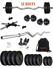 Aurion PVC 25 KG Combo Pack Home Gym and Fitness Kit