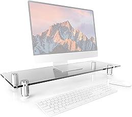 Duronic DM052-3 Bildschirmständer/Monitorständer / Notebookständer/TV Ständer aus Glas 70cm x 24cm bis zu 20kg