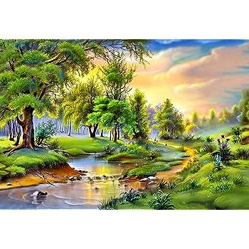 MAHALAXMI ART Nature Painted Landscape Wallpaper(Multicolour, 13x19-inch)