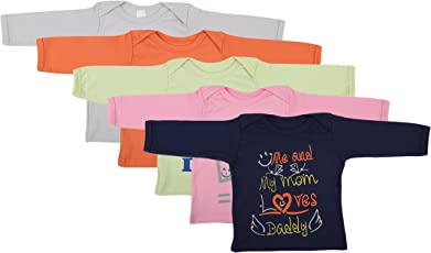 FARETO Baby Boy's and Girl's Cotton T-Shirt (Di-Mom&Dad-Coloured-Full--12-18 Months, Multi-Colour, 12-18 Months) - Pack of 5