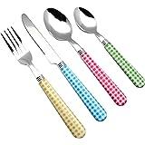 EXZACT Bestekset 24 stuks roestvrij staal met gingham Check gekleurde handgrepen - 6 x vorken, 6 x dinermessen, 6 x tafellepe