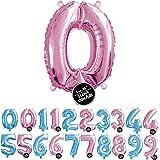 Haioo Globo Número de Cumpleaños en Metalizado Ideal para Fiesta de cumpleaños y Aniversarios Hinchable y Deshinchable (Rosa