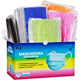 50pz Mascherine Chirurgiche Colorate Monouso Certificate CE Classe I Tipo IIR BFE ≥ 99% Colore Verde Nero Blu Rosa Arancione
