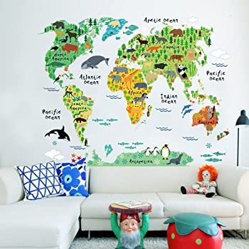 Zooarts Animals World Map Vinyl Mural Wall Sticker Decals For Kids - Cute world map wallpaper