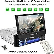 "Autoradio Bluetooth, CATUO 7"" HD 1080P Touchscreen MP5 Player mit Ausfahrbar Bildschirm/GPS Navigation/Bluetooth/Freisprecheinrichtung/Musikwiedergabe/BT/FM/AM /7 LED Beleuchtungsfarben/Rückfahrkamera"