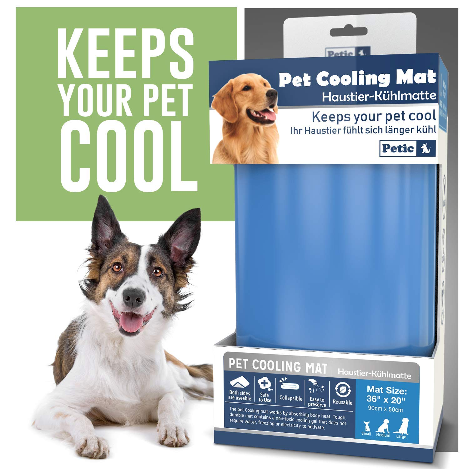 Petic Cooling Mat For Dogs Large Xxl Durable Cool Mat For Cats 50 X 90cm 19 7 X 34 4inch Self Cooling Pet Mat For Summer Heat Relief