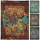 Morgenland Vintage Teppich MANHATTAN 300 x 80 cm Läufer Gold Designer Handgewebt Jacquard Kurzflor Flachgewebe Used Look Retro Shabby Chic Abstrakt Modern Orient Teppich 100% Viskose Für Wohnzimmer Esszimmer - In 4 versch. Farben, Viele Größen