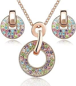 Crystals from Swarovski Colorato Rotondo Purare Collana con Ciondolo 45 cm Orecchini a Lobo 18 kt Placcato Oro Rosa per Donne