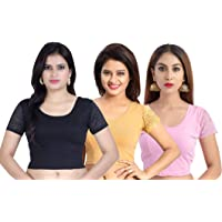 Fressia Fabrics Women's Stretchable Readymade Saree Blouse Crop Top Choli Pack of 3