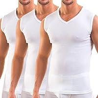 HERMKO 3050 - confezione di 3 magliette senza maniche da uomo con scollo a V, attillate (vari colori)