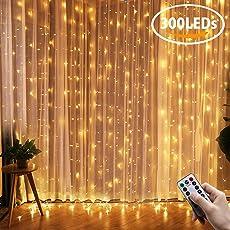Greatever Lichtervorhang, 300 LEDs Lichterkette, 3M X 3M, IP65 Wasserfest,  8 Leuchtmodi