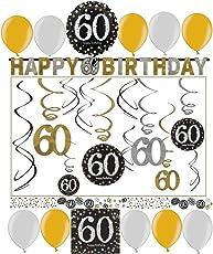 Libetui Geburtstag Dekoration Deko-Set 'Sparkling' Gold Silber Happy Birthday Partykette Girlande Konfetti