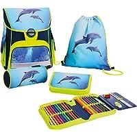 Eberhard Faber 577618 - EFAlino Schulranzen-Set Delfin, bestehend aus Ranzen, gefülltem Schüleretui, Schlamperrolle und…