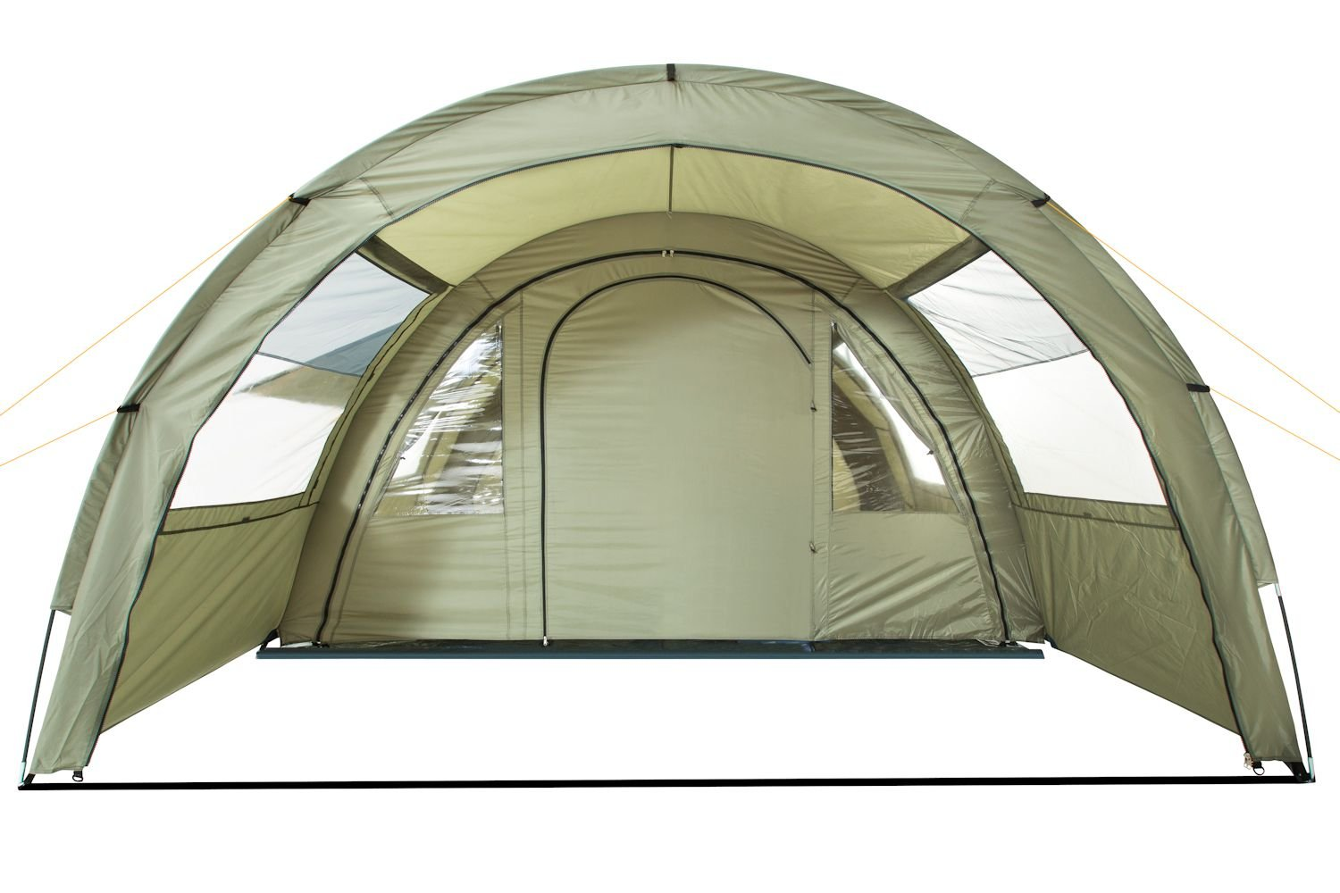 CampFeuer - Tunnel Tent with 2 Sleeping Compartments, Olive-Green, with Groundsheet and Movable Front Wall 4