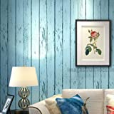 Univocean 3D Realistic Blue Wooden Strip Peel and Stick Home Wallpaper, PVC Self Adhesive Wall Decor for Living Room…