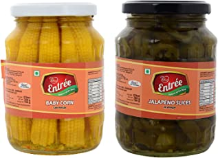 Entrée Baby corn in Vinegar and Jalapeno Slices in Vinegar 360 grams each jar - (Pack of 2 jars)